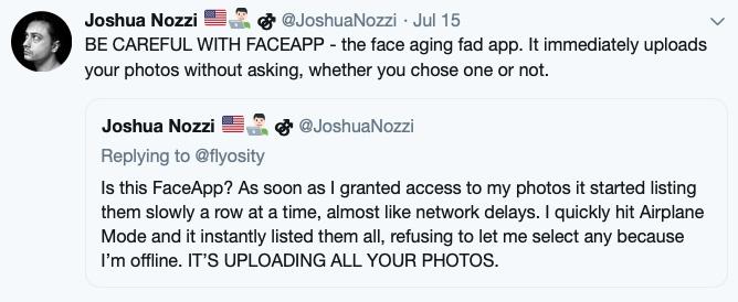 Joshua Nozzi FaceApp Tweet